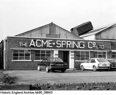 BB90/08643 Exterior view showing the front elevation of the Acme Spring Company Ltd building on Brandon Way Acme Spring Company Ltd, Brandon Way, West Bromwich, Sandwell   DateAug 1990  Photographer: Peter Williams, Royal Commission on the Historical Monuments of England
