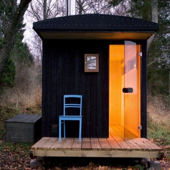 Color. Wood. Outdoors. Sauna? yup