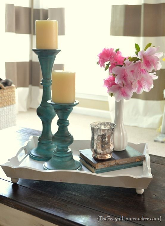 Yard sale candlesticks get a paint makeover from the frugal homemaker.com