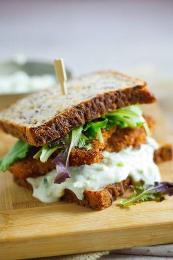 Special K Crusted chicken sandwich  with tzatziki garlic sauce