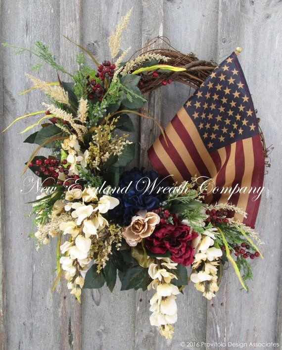 Patriotic Wreath, Americana Wreath, Fourth of July Wreath, Memorial Day, Williamsburg, Floral Wreath, Designer Wreath, Tea Stained Flag