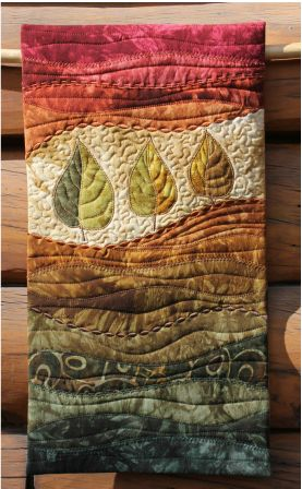 """""""Autumn Leaves"""" - art quilt by On The Trail Creations (Beret Nelson)"""