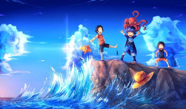 Anime One Piece Portgas D. Ace Sabo Monkey D. Luffy Fond d'écran