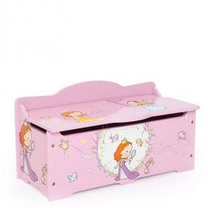 Spielzeugtruhe / Kindersitzbank Motiv Princess Ansicht geschlossen