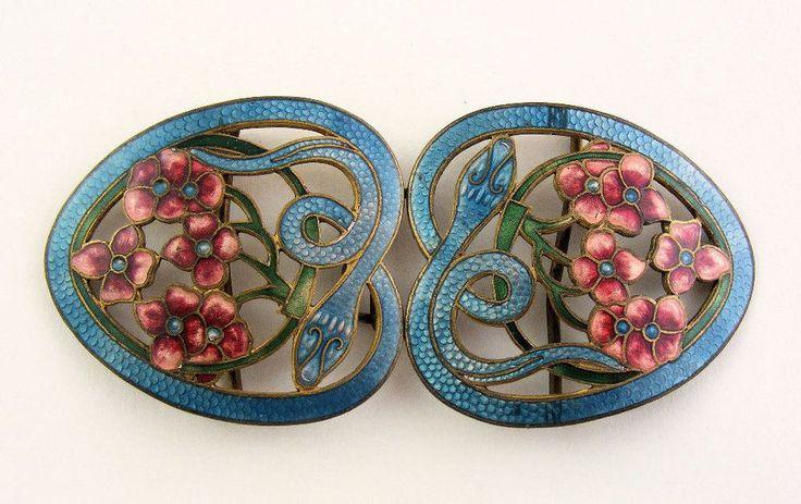 Antique Art Nouveau Enamel Nurses Belt Buckle - c1910 - Snakes and Flowers