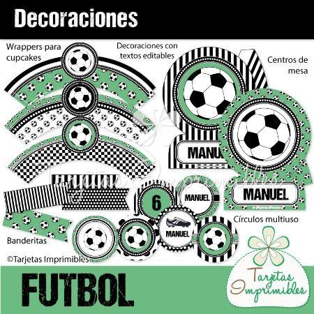 Decoraciones para imprimir para fiesta de futbol - Decoracion blanco y negro ...