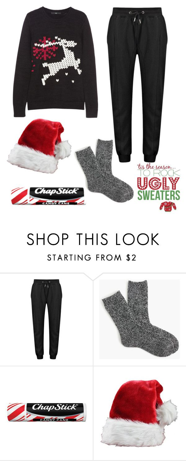 """""""Ugly Xmas Sweaters! #WinterWonderGab"""" by owllover114 ❤ liked on Polyvore featuring J.Crew and Chapstick"""