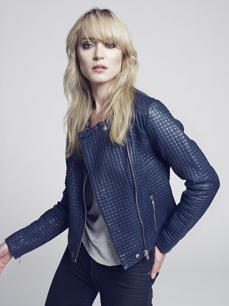 KRISTA blue leather jacket