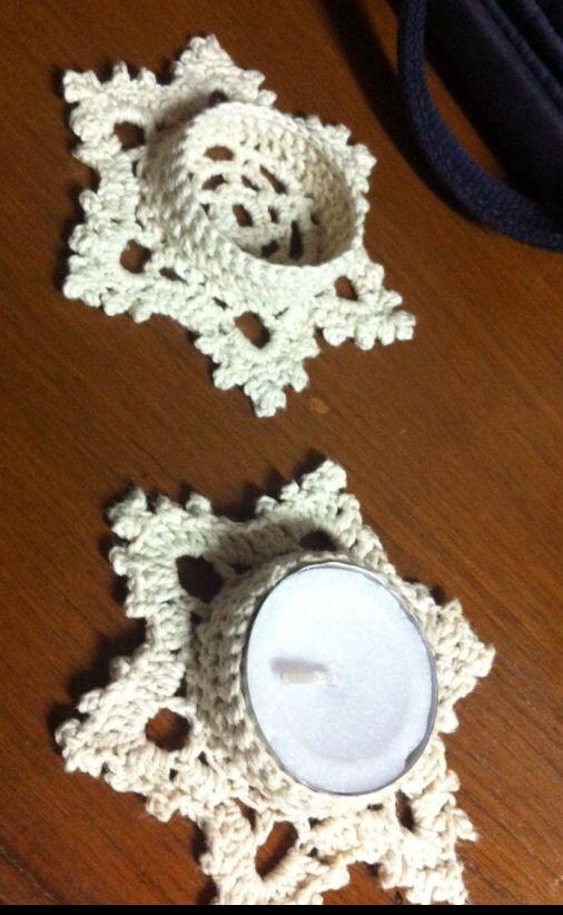 Crochet tea light holder                                                       …                                                                                                                                                                                 More