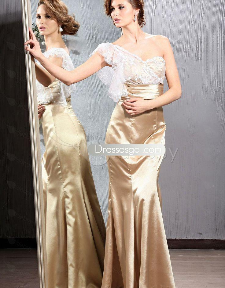 Dentelle Fabuleux sirène trompette robes de demoiselle d'Floor-length One-Shoulder de Veronika