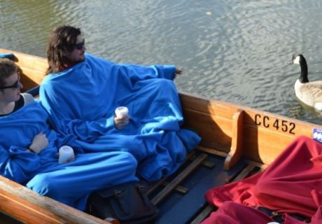 Winter Warmer Punting Tours 2014/15 including individual sleeved blankets and hot chocolate.