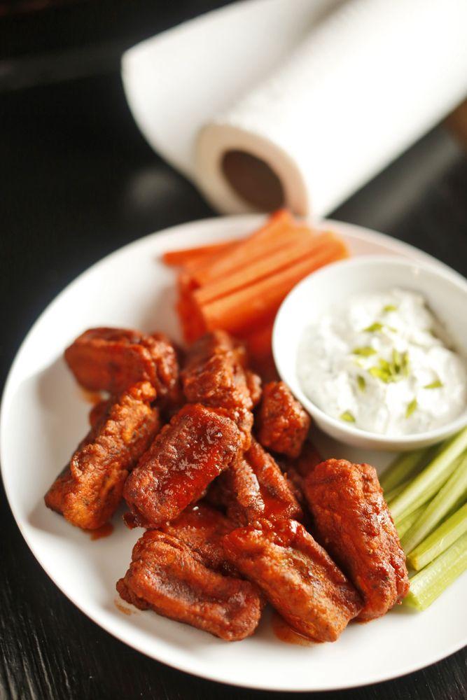 The Chubby Vegetarian: Tofu Hot Wings + Greek Yogurt Bleu Cheese Dressing