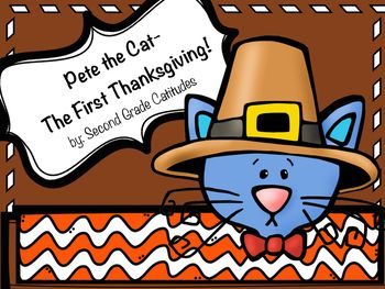 Pete the Cat continues to be as entertaining and as fun in this new Pete the Cat- The First Thanksgiving. This book is not only fun, but also informational on the the first Thanksgiving for lower grade level students (K-3). In this bundle you will find:-Vocabulary Flapbook-Beginning, Middle, and End- Character and Setting worksheet-Thanksgiving Word Search-Pete the Cat Thankful Writing Craftivities   *What I am Thankful For pumpkin flap book -or- Friendly Letter- Synonym Turkey Game- Turkey…