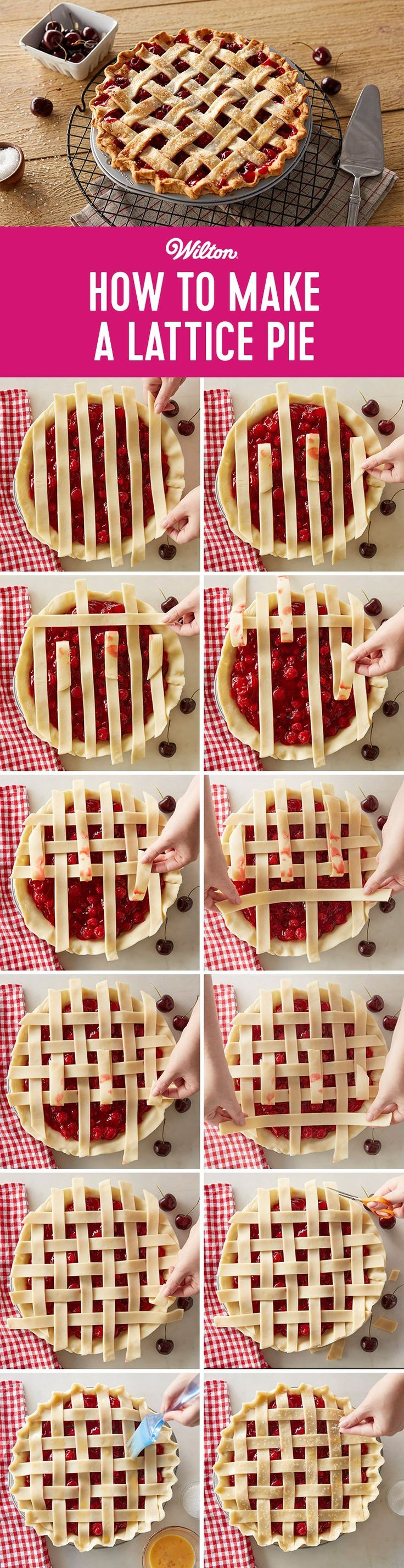 Intimidated by lattice top for a pie crust? Though it may look fancy, it's easy to make a lattice top for your pie. Click to learn how easy it is to make a lattice pie crust!