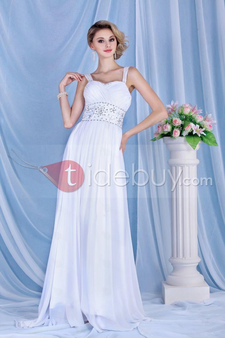 豪華帝国スパゲッティストラップノースリーブウェディングドレス