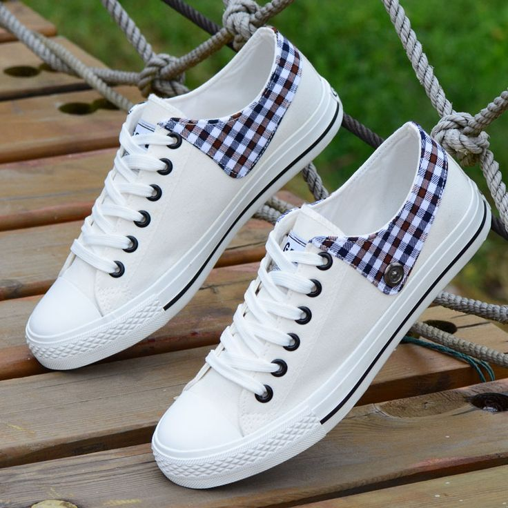 Shoes For Women Canvas Plaid Flat Heel Comfort Round Toe Fashion Sneakers Outdoor Casual More Colors