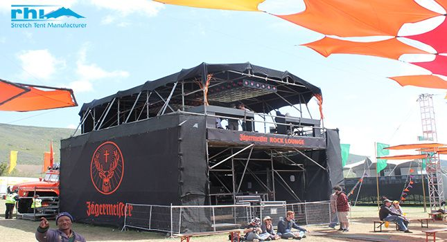 A stretch tent designed for a sound engineering stage.