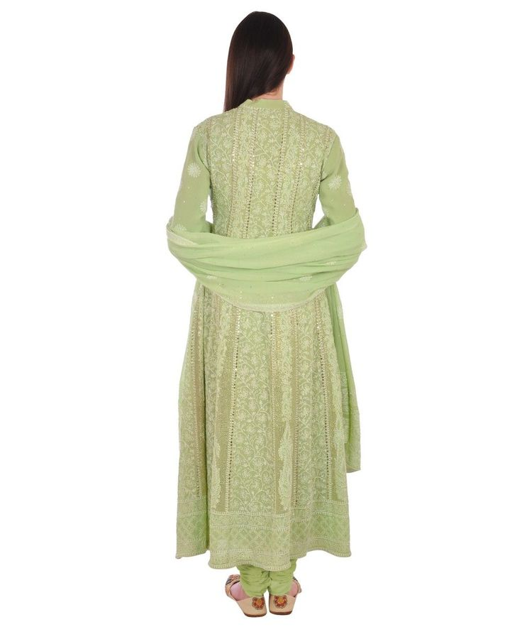 Pastel Green Chikankari Kamdaani Anarkali Pure Georgette Suit