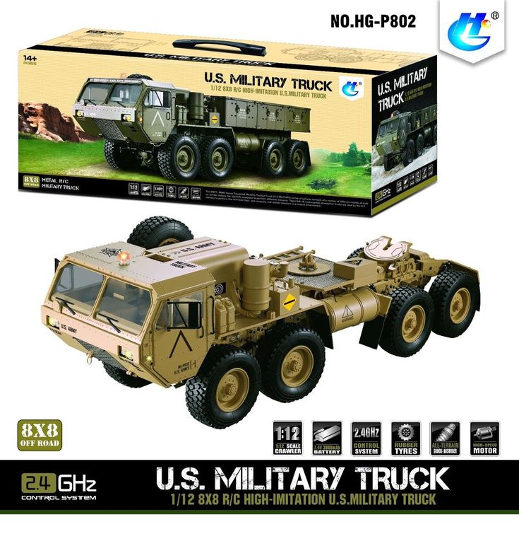 1/12 2.4G 8*8 RC US Military Truck Model Metal Chassis Car