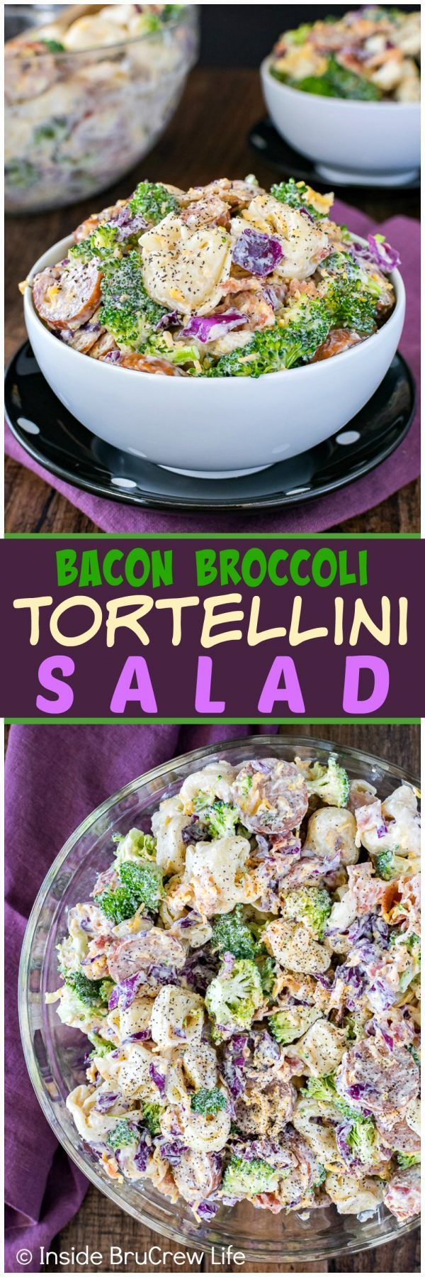 Bacon Broccoli Tortellini Salad - cheese filled pasta, veggies, and meats make this pasta salad recipe a great dish for summer dinners or picnics!