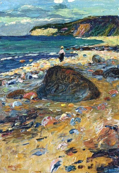 Wassily Kandinsky (1866-1944) Binz auf Rügen. Caminando descalzo con los pinreles mojados.