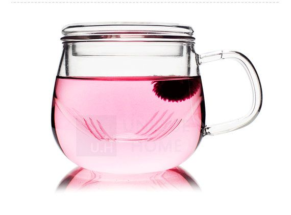 Hand Made Gift Mouth Blown Clear Glass Tea Mug with by Unihom
