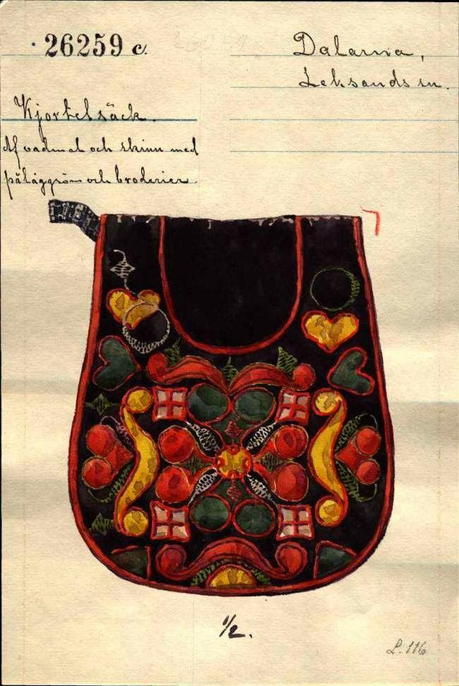 FolkCostumeEmbroidery: Kjolsäcken, Loose Pockets of Leksand, Dalarna, Sweden