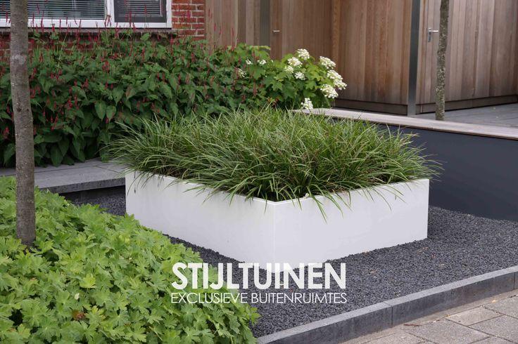 Modern tuinontwerp voortuin met lage aluminium plantenbak #siergassen www.stijltuinen.nl
