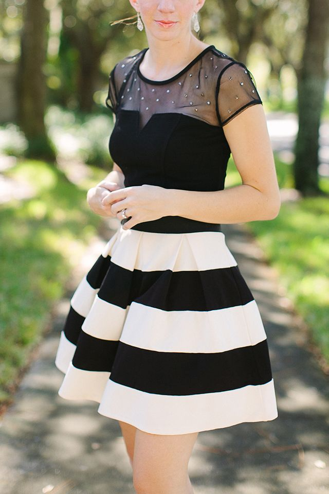 Date Night Outfit. Black And White Stripes Cute Outfit ...