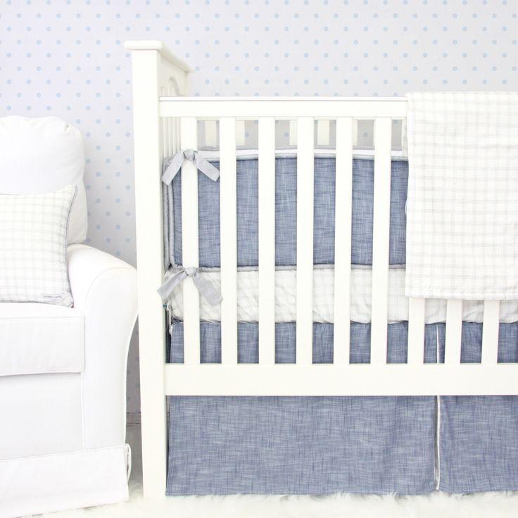 Stuart's Denim & Silver Baby Bedding | Denim Boy Crib Set | Navy and Gray Nursery | Metallic Silver Crib Sheet | Denim and Silver Bumpers by CadenLaneBabyBedding on Etsy https://www.etsy.com/listing/255969940/stuarts-denim-silver-baby-bedding-denim