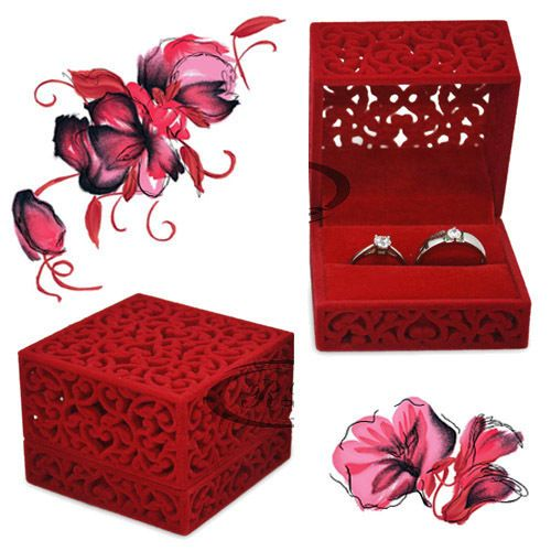 Chinese style Engagement Wedding Ring Box Earrings Pendants Jewelry Gift case