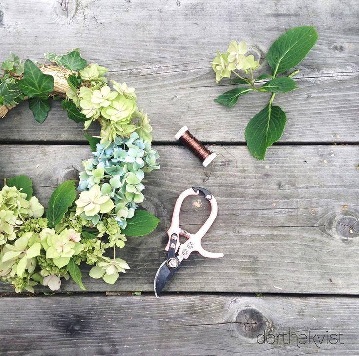 DIY lav en smuk hortensia krans Foto og styling Dorthe Kvist Meltdesignstudio b