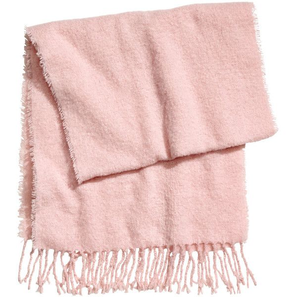 Fluffy Scarf $19.99 ($20) ❤ liked on Polyvore featuring accessories, scarves, woven scarves, short scarves, fringe shawl, pink scarves and fringe scarves