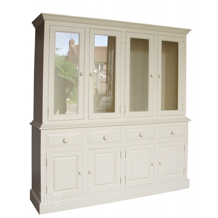 Solid Pine Painted 7ft 2Inch Glazed Dresser