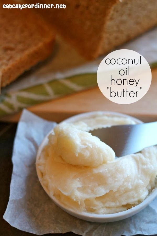 """Coconut Oil Honey """"Butter"""" ~ so irresistible and you don't have to store the leftover """"butter"""" in the fridge.  So, it always stays soft and creamy and spreadable."""