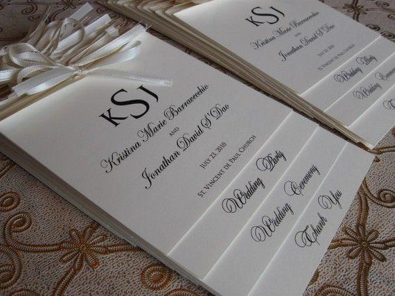 Layered Monogram Wedding Ceremony Programs  Tied by inkedpapers, $4.00