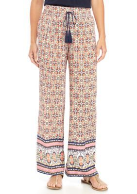 New Directions Women's Printed Crepon Pull-On Wide Leg Pant - Coral - Xl