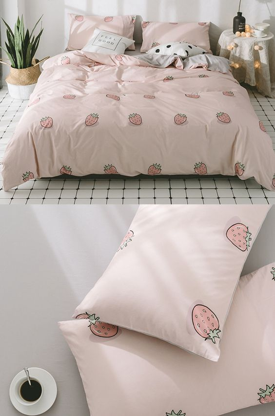 Pink Bedding Set Cute Duvet Bedding Set Strawberry Printed