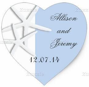 1.5inch Starfish Heart Wedding Sticker With Names and Date
