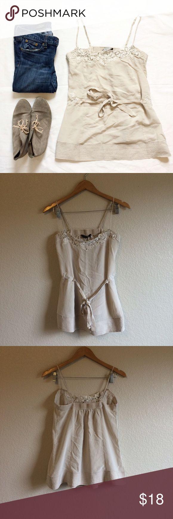 BCBGMaxAzria • Top This pretty embroidered lace top ties in the front. BCBGMaxAzria Tops Tank Tops