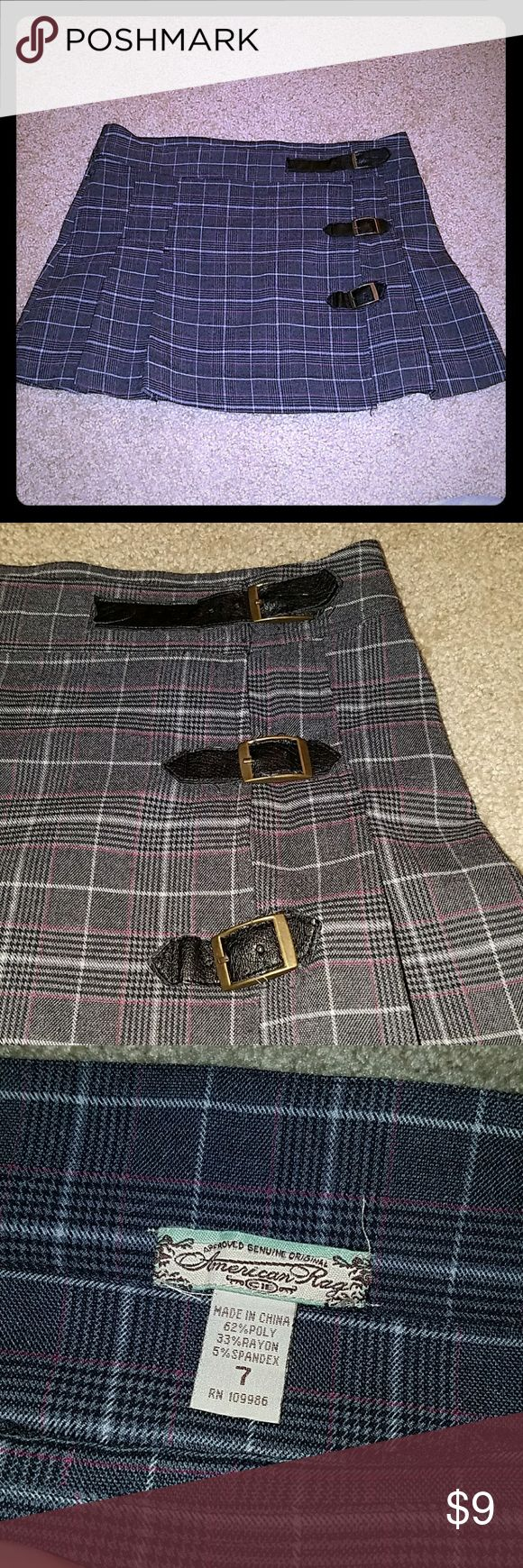 School girl pleated skirt plaid goth punk clueless So cute! Has buckles and snaps. Buckles show normal wear. Size is 7 but would fit a 9 as well. Perfect with a sweater and boots. Selling as i have too many skirts. Very 90s and fun American Rag Skirts