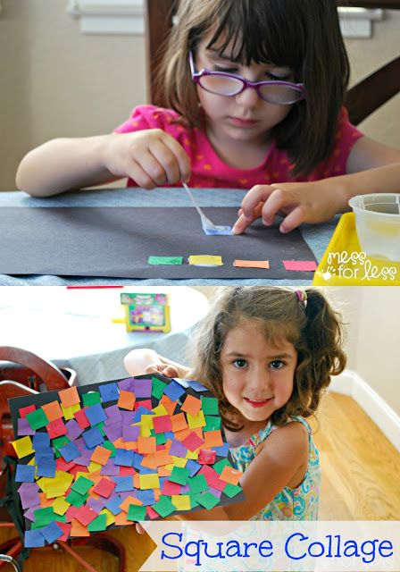 Open ended art activity - Children create a collage using paper squares and glue.
