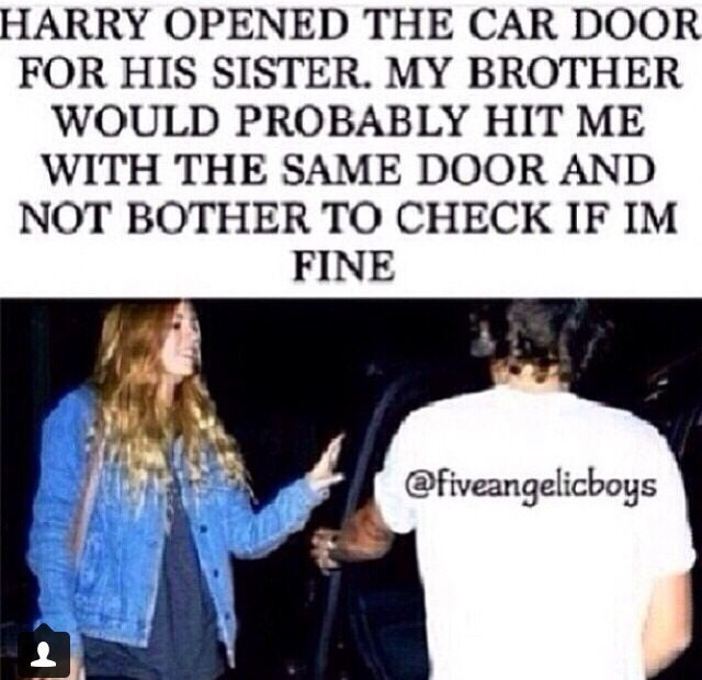 My brother would probably hit me with the door and then laugh, and I would start laughing  because it would be funny