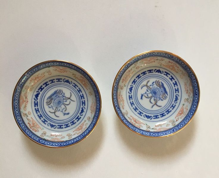 Vintage Chinese Rice Bowl Plate Blue Exquisite Design With Gold Edge  | eBay