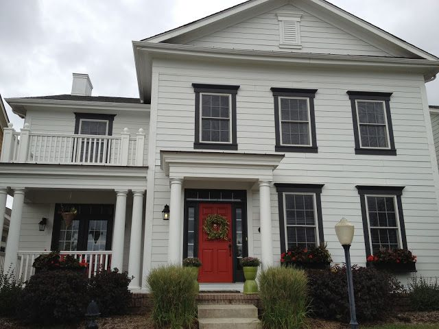 White house black trim red door exterior pinterest white on white red doors and black trim - Black house with white trim ...