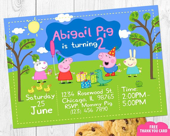 Peppa Pig Photo Invitation With Invites Birthday Personalized Invite FREE Thank You