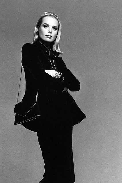 Margaux Hemingway in a black velvet suit by Givenchy, photo by Francesco Scavullo, 1976.