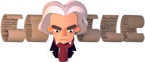 Doodle soulignant le 245e anniversaire de la naissance de Ludwig van Beethoven