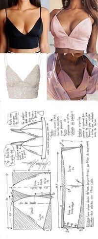 Top bralette para tecido plano   DIY - molde, corte e costura - Marlene Mukai