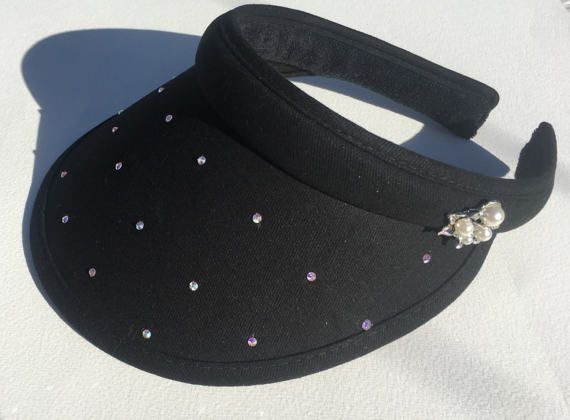 Black ladies golf visor  with diamonds and pearls by GolfGlam